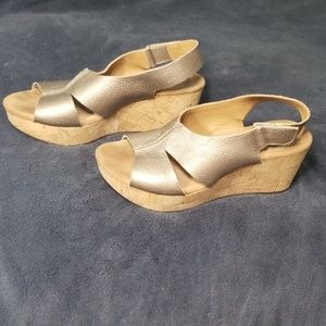 Clark's bronze cork wedges